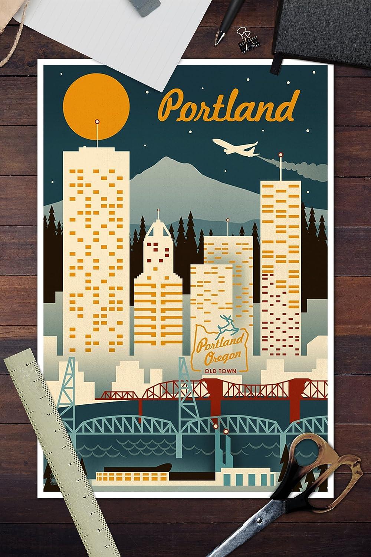 Amazon.com: Portland, Oregon - Retro Skyline (12x18 Art Print, Wall ...