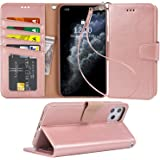 Arae Wallet Case for iPhone 11 Pro [5.8 inch] with Wrist Strap and Credit Card Holders - Rosegold