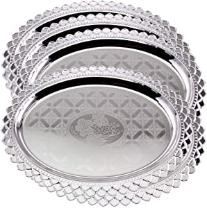 Maro Megastore (Pack of 5) 19.9 inch x 14.6 inch Oval Chrome Plated Silver Serving Tray Stylish Floral Grapes Engraved Decorative Party Birthday Wedding Dessert Buffet Wine Decor Platter Plate TLA-311