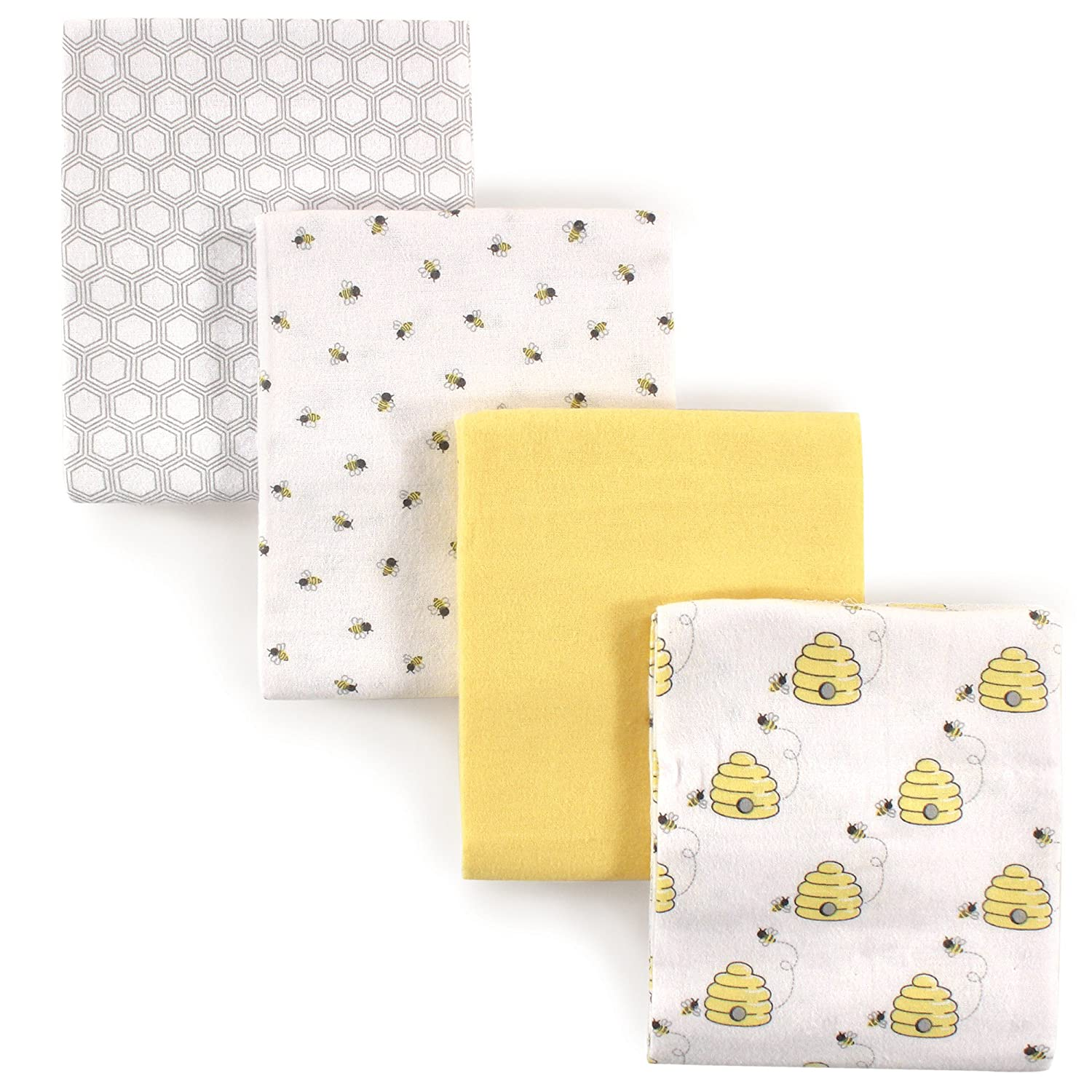 Hudson Baby Unisex Baby Cotton Flannel Receiving Blankets, 4-Pack, Bee, One Size