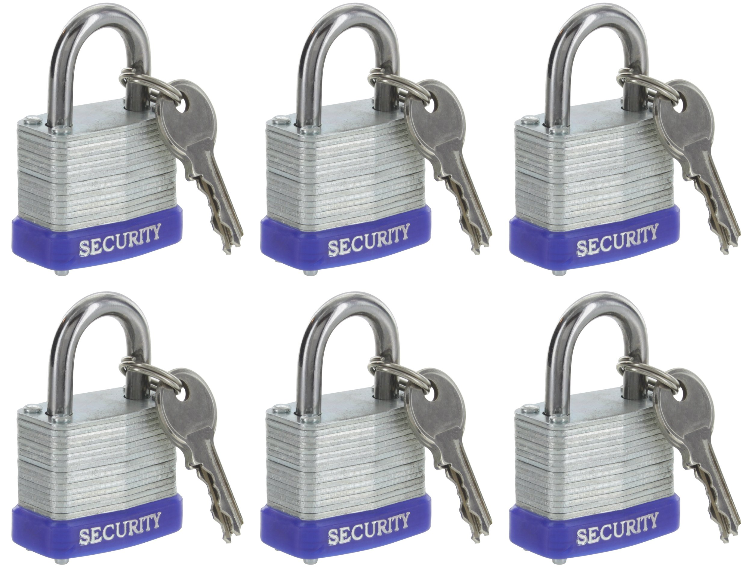 Pack of 6, Laminated Solid Steel Padlocks Hardened Shackle, Heavy Duty Lock with Shackle, Wide Body Keyed Alike Laminated Steel Pin Tumbler Keys Included Outdoor Security Lock