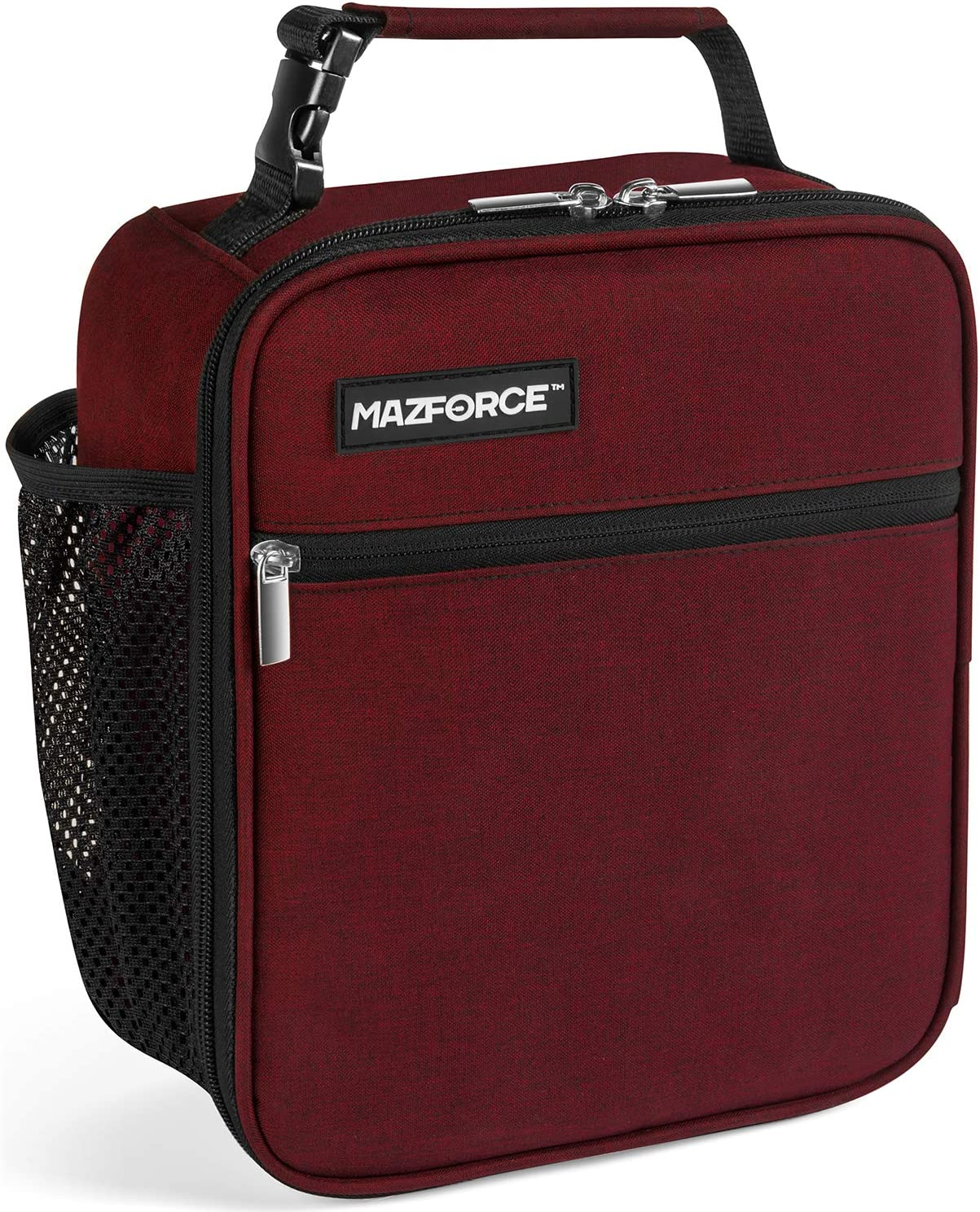MAZFORCE Original Lunch Box Insulated Lunch Bag - Tough & Spacious Adult Lunchbox to Seize Your Day (Burgundy Red - Lunch Bags Designed in California for Men, Adults, Women)