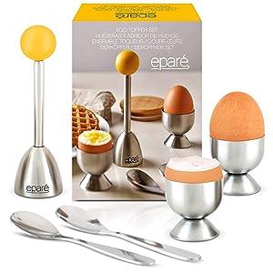 Eparé Egg Cracker Topper Set - Complete Soft Boiled Egg Tool Set - Includes Egg Cups, Cutter, Spoons - Easy Eggs Opener