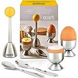 Egg Cracker Topper Set - Complete Soft Boiled Egg Tool Set - Includes Egg Cups Cutter & Spoons - Holder Cup Spoon & Peeler -
