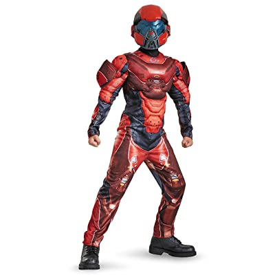 Red Spartan Classic Muscle Halo Microsoft Costume, Medium/7-8: Toys & Games
