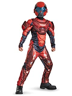 Disguise Costumes Red Spartan Classic Muscle Halo Microsoft Costume, Large/10-12 97542G