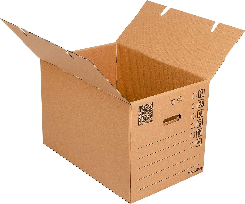 Cajas de mudanza grandes 600x400x400mm Empaque muy resistente y duradero Cartón de 3 capas Doble fondo de la caja de cartón 6 manijas Paquete de almacenamiento móvil (5): Amazon.es: Oficina y papelería