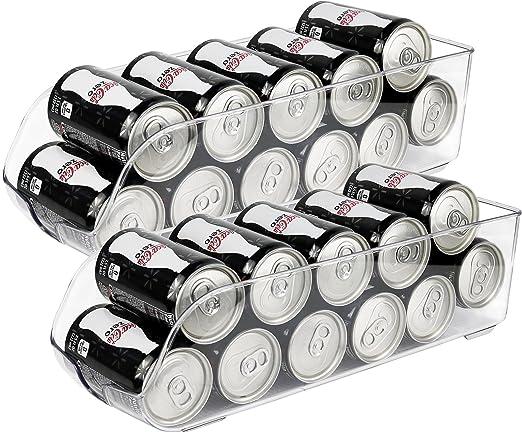 "Greenco Refrigerator And Freezer Drink Holder Storage Bin, 13.5\""X 5.5\""X 3.75\"", Clear (2 Pack) by Greenco"
