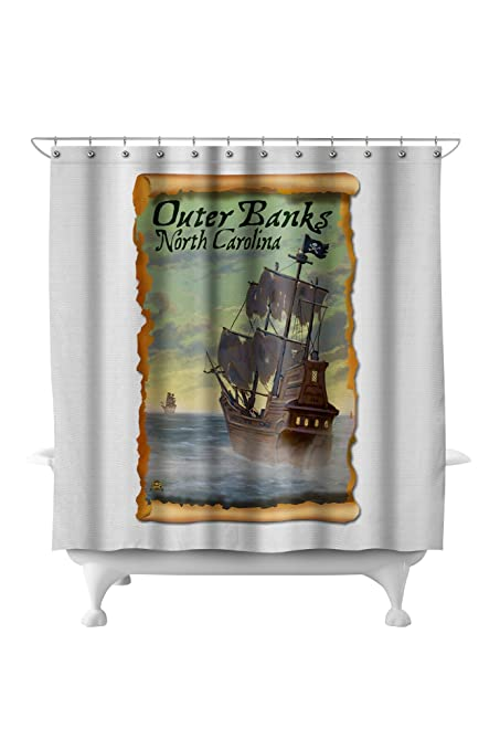 ordinary Pirate Shower Curtain Part - 8: Outer Banks, North Carolina - Pirate Ship (71x74 Polyester Shower Curtain)