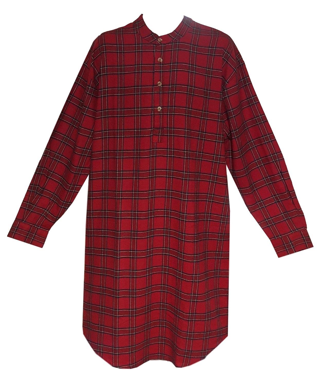 Lee Valley Men's Flannel Nightshirt (Large, Red Tartan)