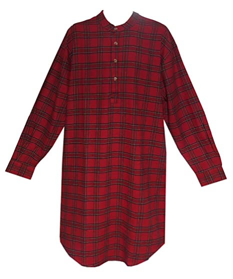 Lee Valley Men s Red Tartan LV27 Flannel Nightshirt at Amazon Men s ... a88e5bf0d