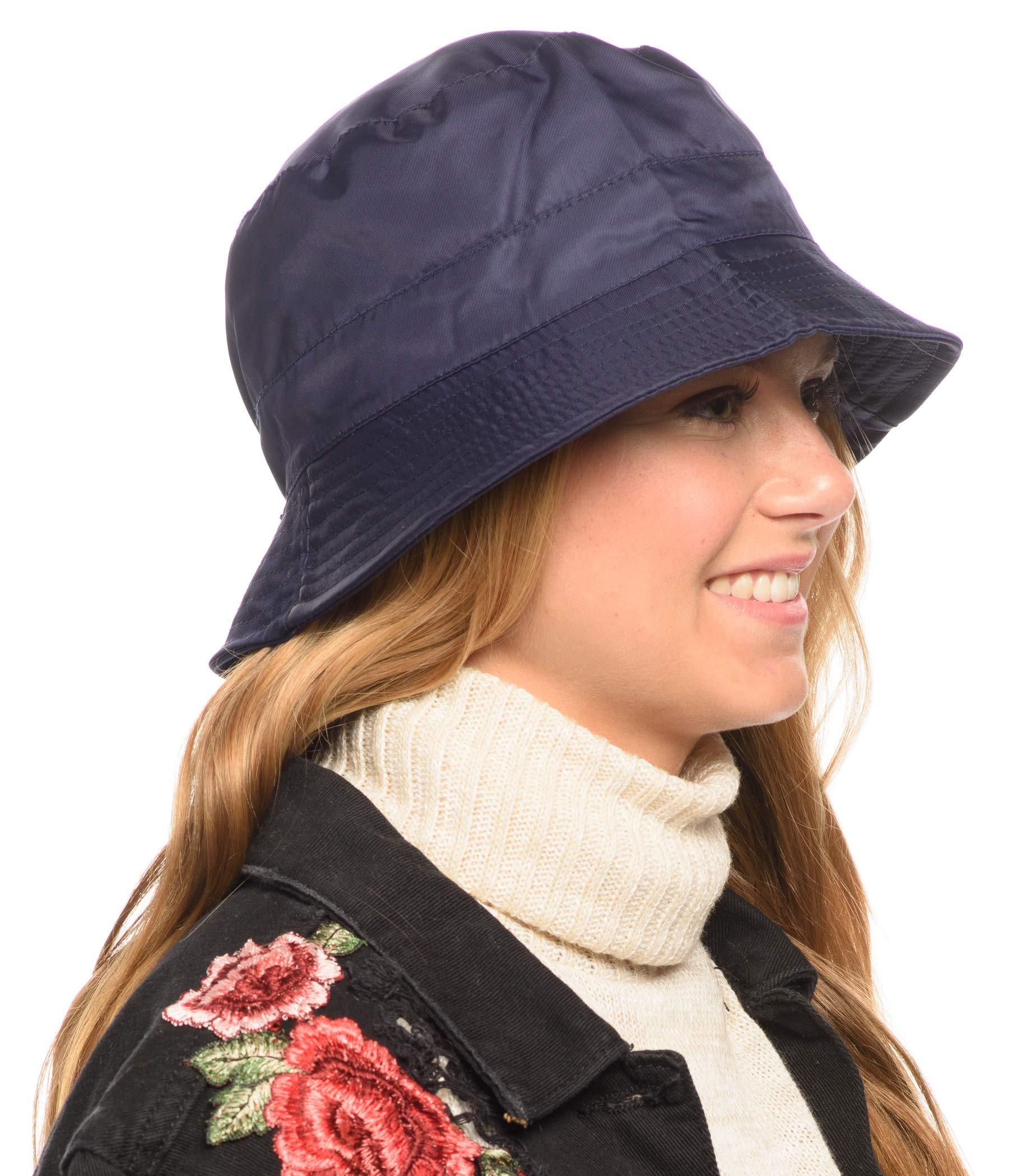 Adjustable Waterproof Bucket Rain Hat in Nylon, Easy to fold (A Navy)