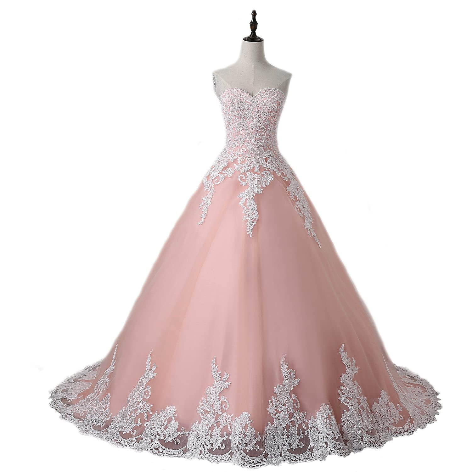 WeddingDazzle Ball Gown Lace Appliques Pink Wedding Dress ...