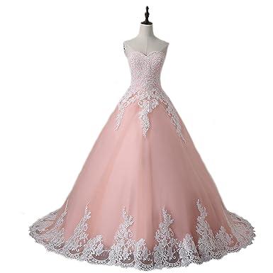 Weddingdazzle Ball Gown Lace Appliques Pink Wedding Dress Plus Size