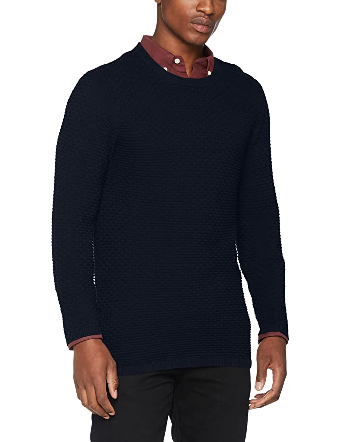 Shhnewdean Crew Neck Noos, Suéter para Hombre, Azul (Dark Sapphire), Medium Selected