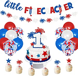 First Birthday Banner Glitter Garland ONE Cake Topper Fourth of July Stars Cupcake Toppers Red White Blue Balloons Decors for Baby Boy Girl Patriotic Birthday Independence Day Party Supplies
