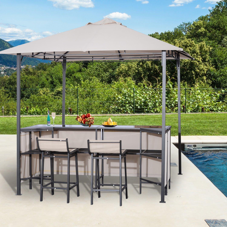 Amazon com outsunny 8 x 8 3 piece outdoor furniture covered gazebo patio bar set garden outdoor