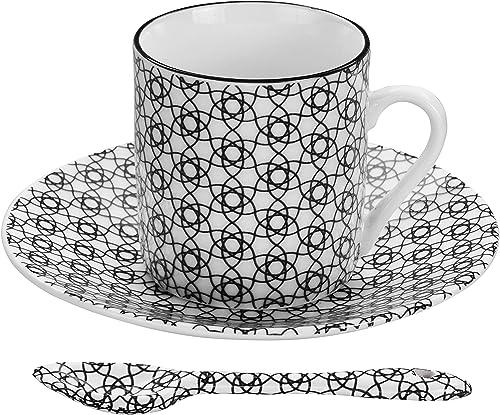 Espresso-Set schwarz-weiß, 6X Espresso-Tassen mit Untertassen und Löffeln, asiatisches Porzellan, Japanisches Design, inkl. Geschenk-Verpackung