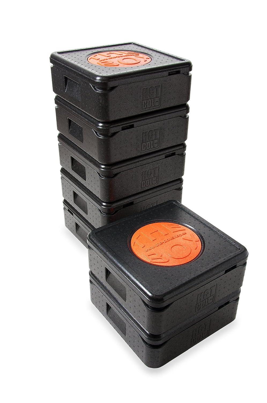 THE BOX 7er Paket Thermobox Pizza 79770; schwarz, Außenmaß 41 x 41 x 16,5 cm, Innenmaß 35 x 35 x 10 cm, Nutzhöhe 10 cm12 l.