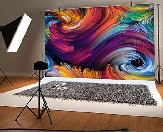 Abstract Colorful Swirl Oil Painting Backdrop 8x6.5ft Polyester Creativeness Twirling Eddy Vortex Motion Background Child Kids Adult Portrait Shoot Event Activities Studio Props