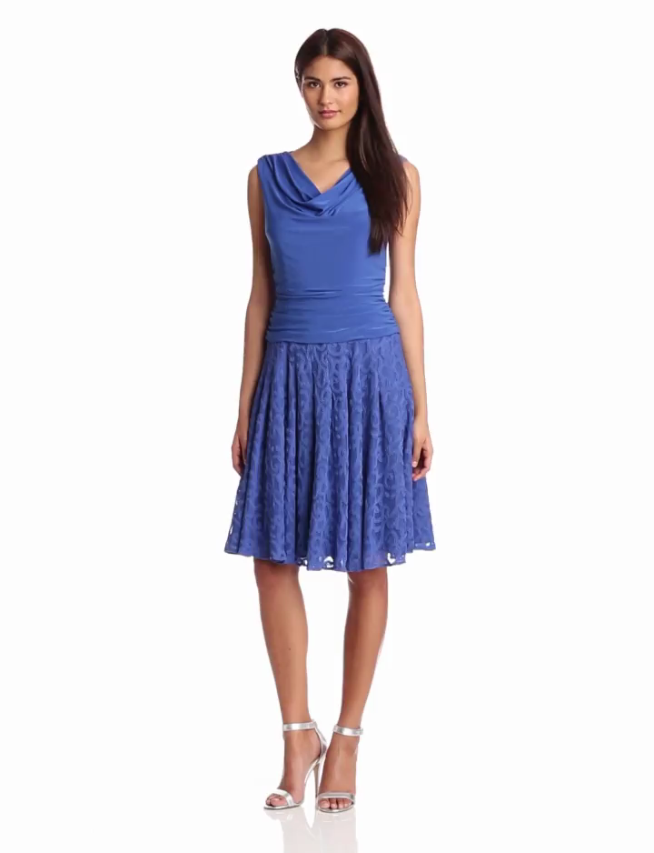 Adrianna Papell Womens Shirred Top Pleated Dress, Blue Moon, 10
