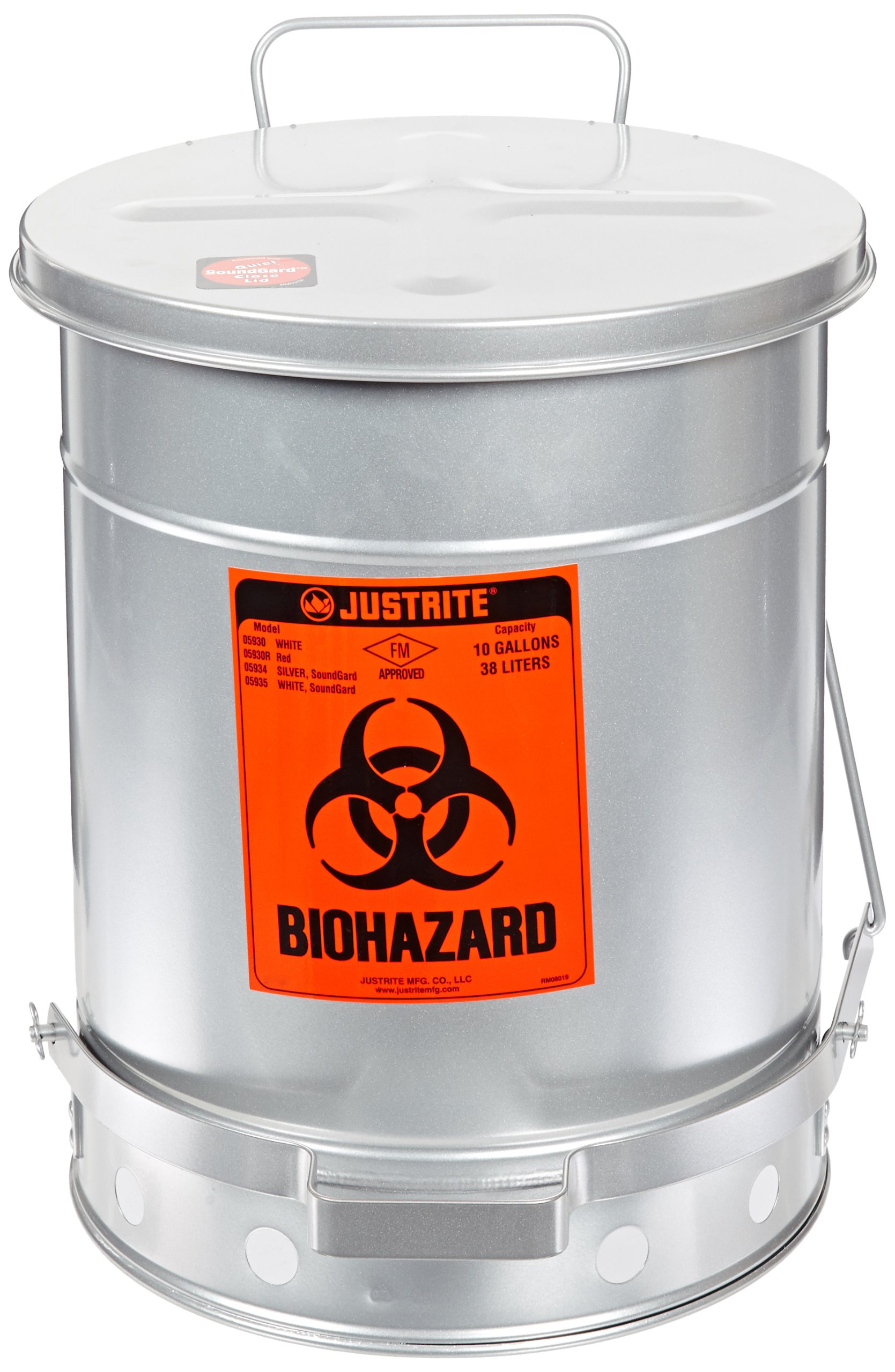 Justrite 05934 SoundGuard Steel Biohazard Waste Container with Foot Operated Cover, 10 Gallon Capacity, 13-15/16'' OD x 18-1/4'' Height, Silver