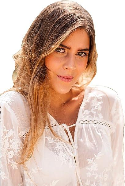 SEGALA Blusa Casual de Chiffon Camisa De Manga Larga Elegante Cuello V Camisa Blanca ES38