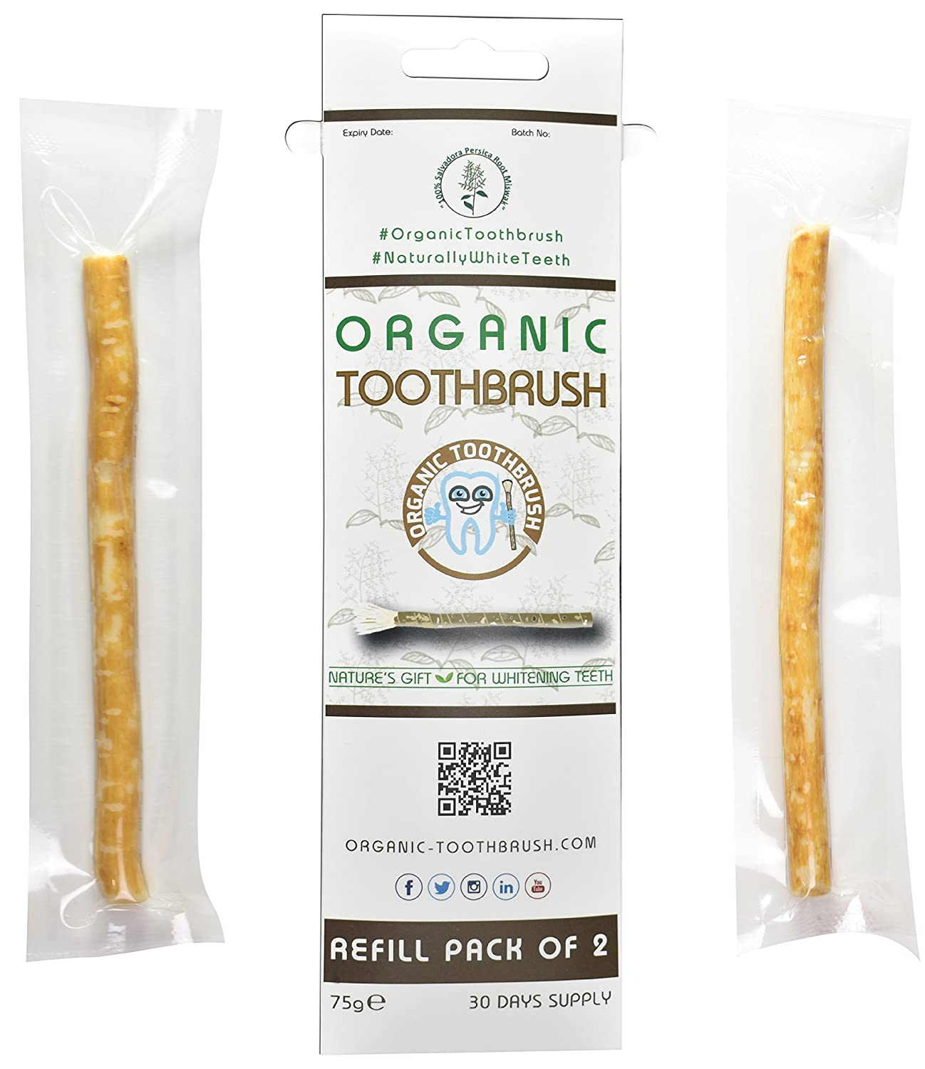 The Organic Toothbrush (Refill Pack of 2 Miswak Sticks): Amazon.es: Salud y cuidado personal