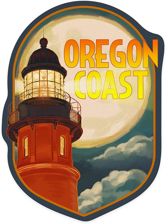 Lantern Press Oregon Coast, Oregon - Lighthouse and Moon - Contour 101032 (Vinyl Die-Cut Sticker, Indoor/Outdoor, Small)