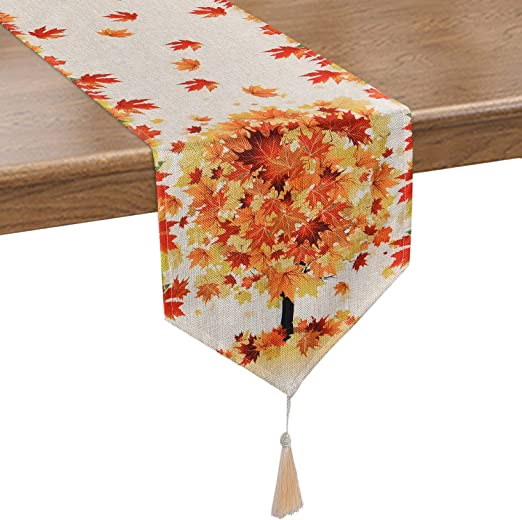 "Embroidered Maple And Fall Leaf on Cream Table Runner//Shelf Scarf 14/"" X 28/"""