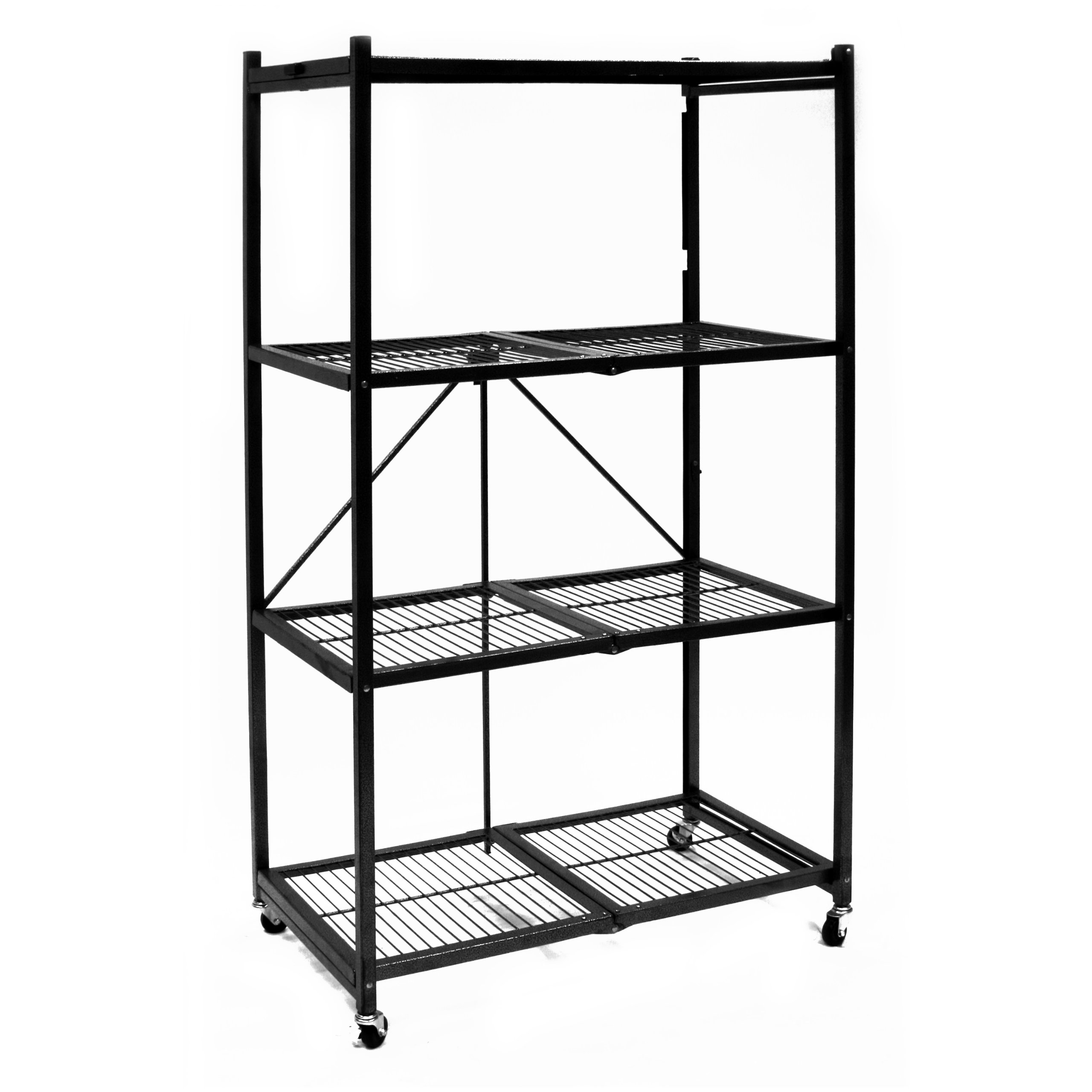 Origami R5-01W General Purpose 4-Shelf Steel Collapsible Storage Rack with Wheels, Large
