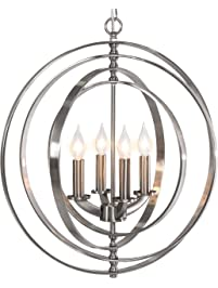 Fabulous Best Choice Products Light Sphere Pendant Chandelier Lighting Fixture Brushed Nickel
