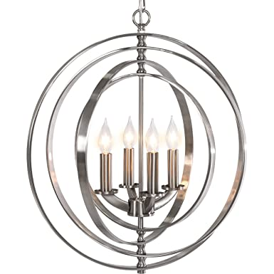 Best Choice Products 18 4-Light Sphere Pendant Chandelier Lighting Fixture Brushed Nickel