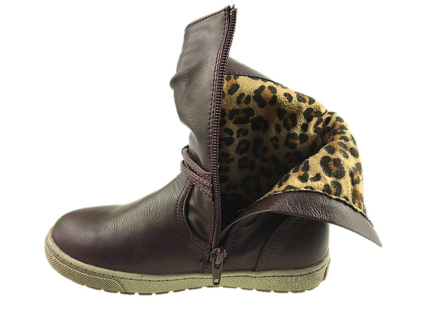 GIRLS INFANTS FAUX LEATHER FLAT ANKLE BOOTS INSIDE ZIP BURGUNDY SIZE UK  6-13 NEW: Amazon.co.uk: Shoes & Bags