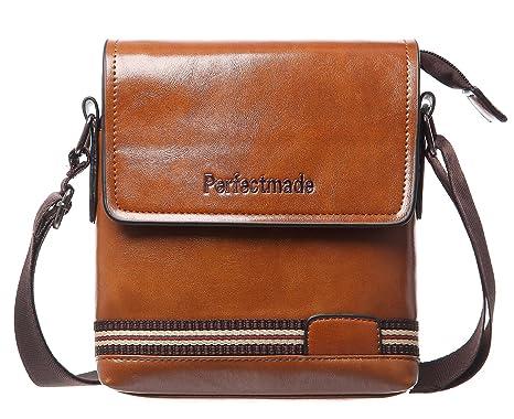 Hengwin Leggero Piccolo Borsa Messenger Borsello in Pelle Uomo Tracolla con  Molte Zip Tasche per Viaggio 83156ad8e7d
