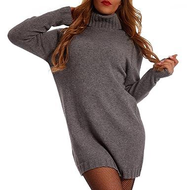 UK Verfügbarkeit farblich passend erstklassige Qualität YC Fashion & Style Damen Pullover Longpullover mit schönem Rollkragen