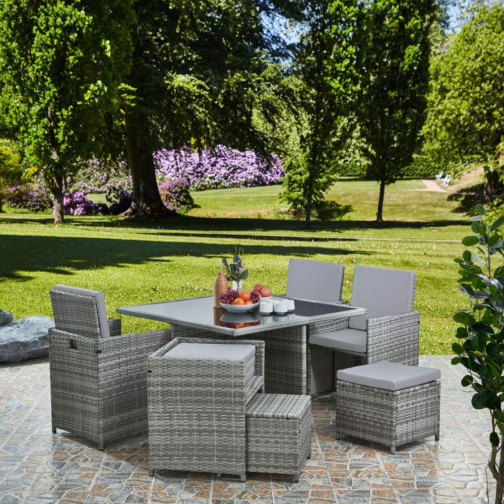 Raygar Deluxe 9 Piece 8 Seater Rattan Cube Dining Table Garden Furniture Patio Set Grey Grey Amazon Co Uk Garden Outdoors