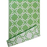 DII Moroccan Indoor/Outdoor Lightweight, Reversible, Fade Resistant Area Rug, Use For Patio, Deck, Garage, Picnic, Beach, Camping, BBQ, Or Everyday Use - 4 x 6', Bright Green Lattice