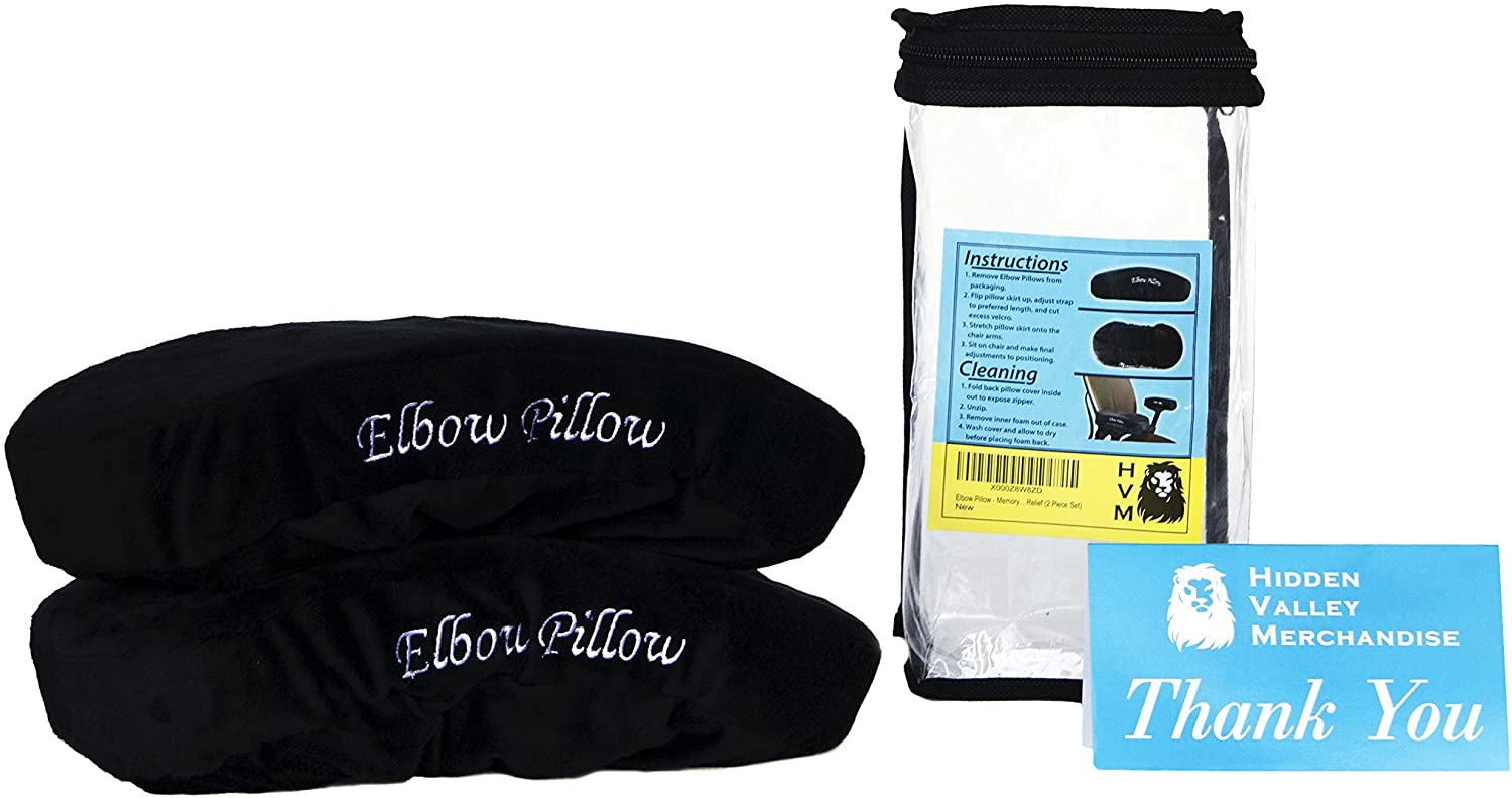 Elbow Pillow --- Jumbo Memory Foam Arm Rest Office Chair Arm Computer Pads - Universal Cushion Covers for Armrest and Elbow Relief (2 Pad Set): Kitchen & Dining