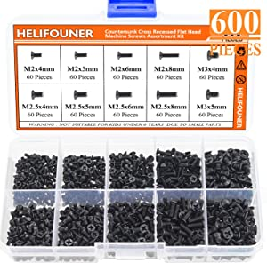 HELIFOUNER 600 Pieces M2 M2.5 M3 Phillips Flat Head Screws, Electronic Repair Screws for SSD, Laptop Notebook Computer