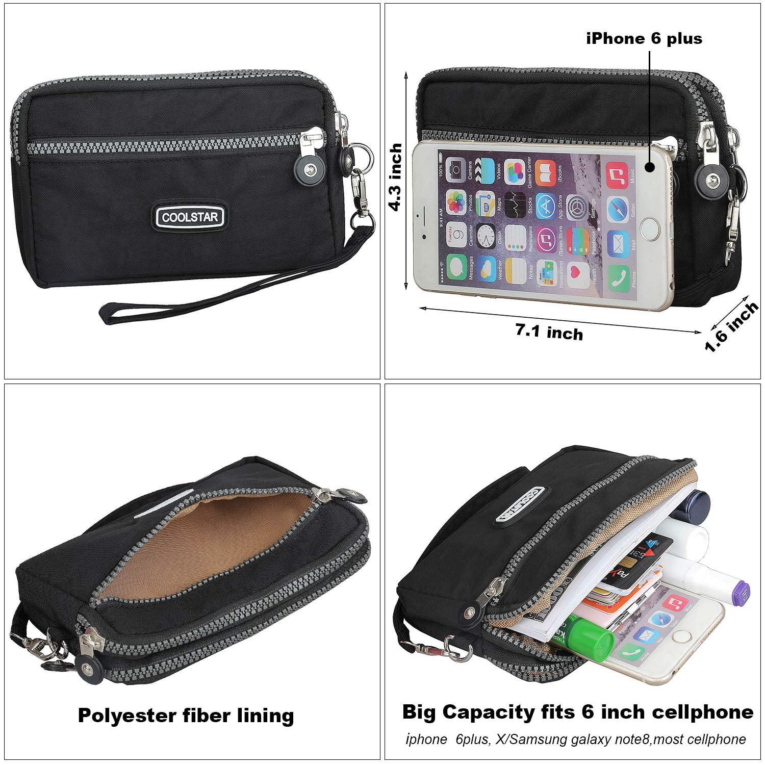 3 Zippers Clutch Wallet Waterproof Nylon Cell phone Purse Wristlet Bag Money Pouch for Women (Black) by Coolstar (Image #6)