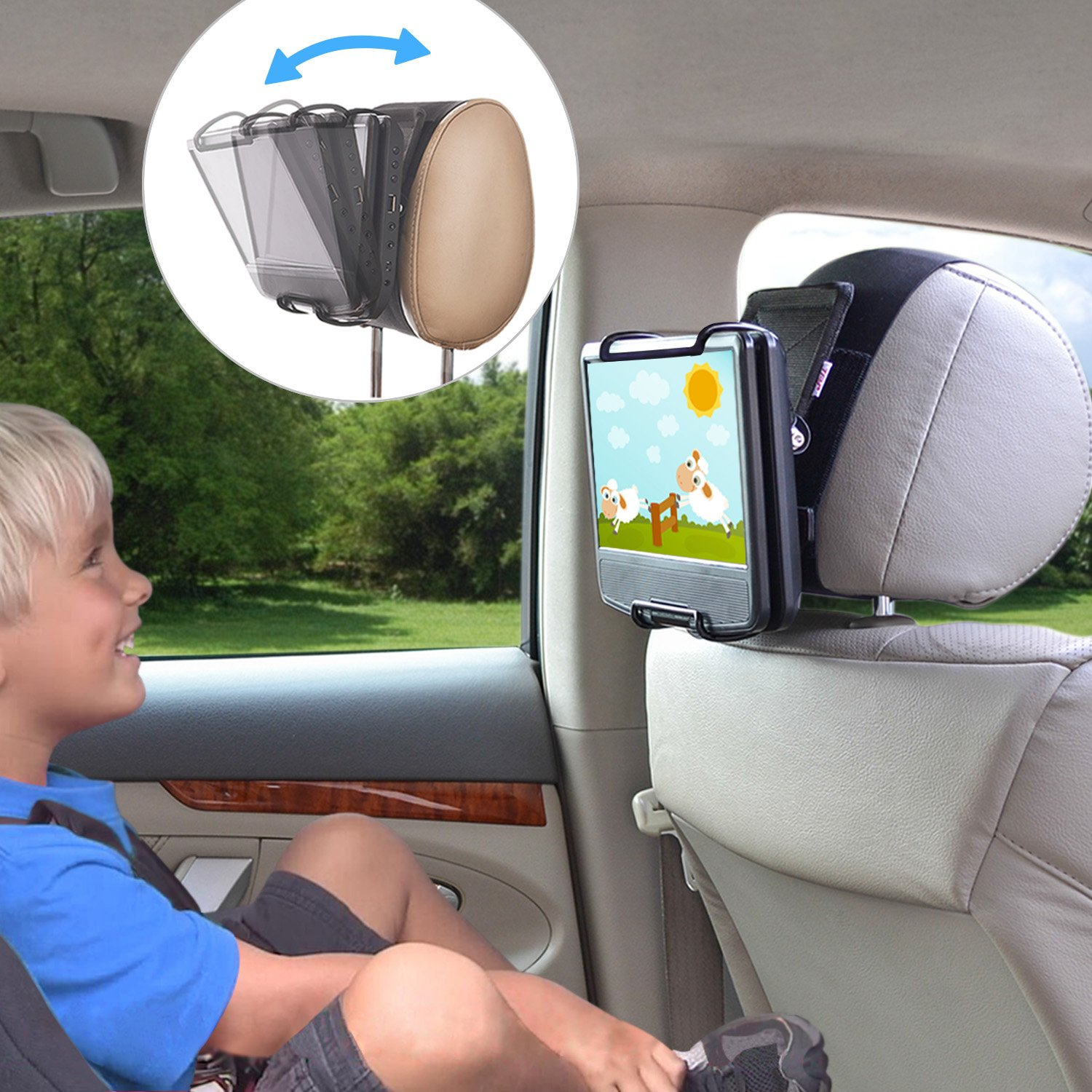 TFY Universal Car Headrest Mount Holder with Angle- Adjustable Holding Clamp for Swivel Screen Portable DVD Players, Black by TFY