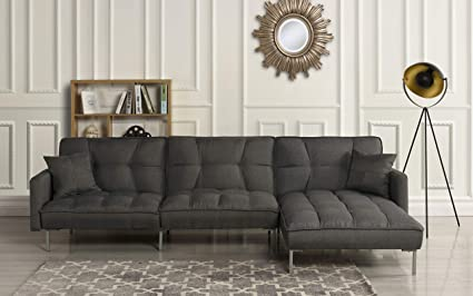 Casa Andrea Modern Linen Fabric Futon Sectional Sofa, 110.6