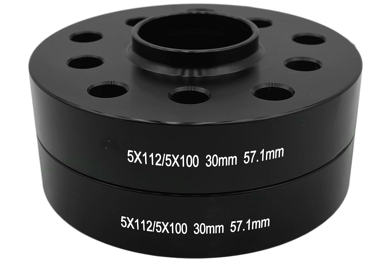 10 Black 14x1.5 Ball Seat Lug Bolts Bolt On Kit Compatible with Audi 2 PC 30 MM Black Hub Centric Wheel Spacers 5x100mm /& 5x112mm Dual Drill Bolt Pattern 57.1mm Hub Bore
