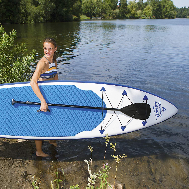 320x76x15cm Funda Plegable y Remo de Aluminio EASYmaxx Tabla Paddle Surf Hinchable para Principiantes con Bomba de Acci/ón Doble