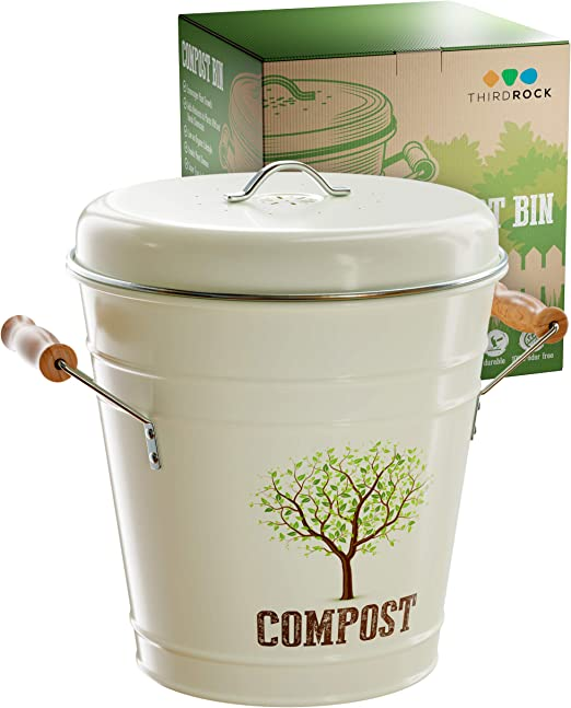 Third Rock Compost Bin for Kitchen Counter - 1 GALLON 3.8 LITER | Premium  Dual Layer Powder Coated Carbon Steel Compost Bin Countertop Bucket | ...