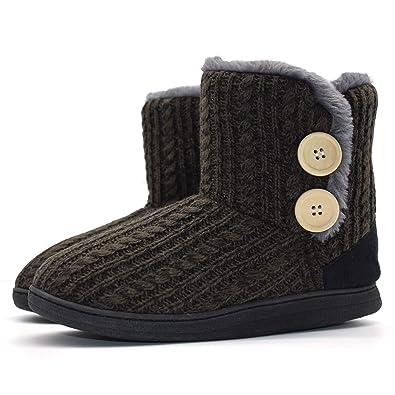 257e499de ONCAI Fluffy Faux Fur Slipper Boots Women Soft Cozy Memory Foam Midcalf  Booties Indoor House Pull