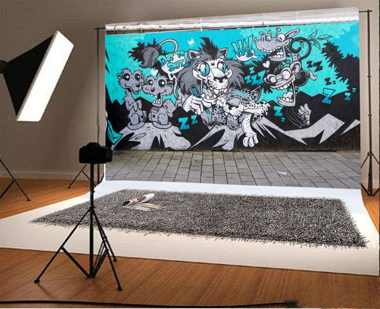 10x6.5ft Polyester Backdrop Photography Background Street Graffiti Wall Scrawl Color Drawing Abstract Creative Fashion Color City Wall Animal Pattern Paint Brick Floor Background Photo Studio Prop