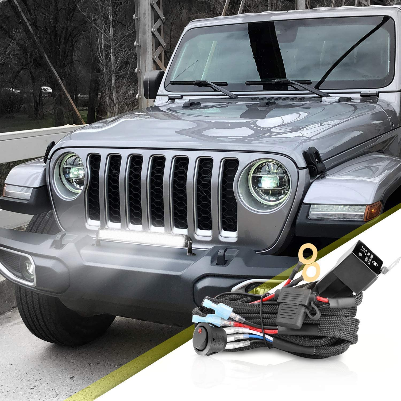 Wiring Harness 2 Lead AKD Part Heavy Duty Wiring Harness Kit LED Pods 12V 40A Relay Fuse Rocker Switch Fog Lights ATV UTV Jeep SUV Boat Truck Off Road