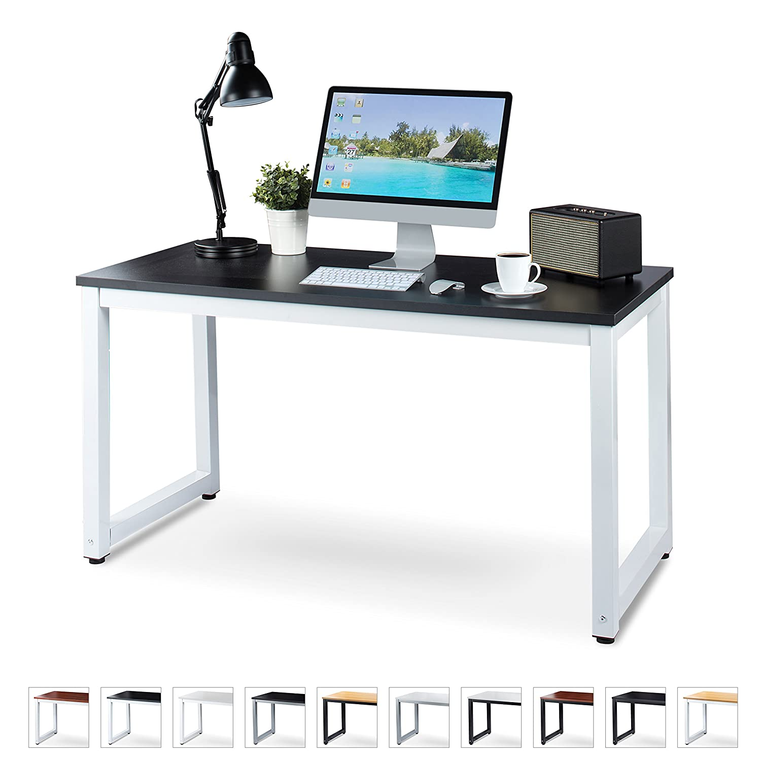 "a4e04964801 Luxxetta Office Computer Desk – 55"" x 23"" Black Laminated Wooden  Particleboard Table and White Powder Coated Steel Frame - Work or Home –  Easy Assembly ..."